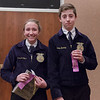 Claryssa Moss of Bridgeport, left, and Alexander Barnette of Bridgeport, right, earned a trip to the Nebraska State FFA competition by placing first and second, respectively, in at Chadron State College during the District 12 National FFA Organization Leadership Contest, Nov. 16, 2016. (Photo by Conor Casey/CSC)