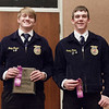 Trae Thayer of Sioux County, left, and Brodee Davis of Cody-Kilgore, right, earned a trip to the Nebraska State FFA competition by placing first and second, respectively, in Extemporaneous Speaking at Chadron State College during the District 12 National FFA Organization Leadership Contest, Nov. 16, 2016.  (Photo by Conor Casey/CSC)
