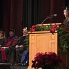 Sheyenne Hunn Sandstrom offers the opening moment of reflection at the Chadron State College graduate commencement in Memorial Hall Friday, Dec. 16, 2016. (Photo by Tena L. Cook/Chadron State College)