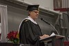 Bruce Hoem, professor of Counseling Psychology and Social Work, addresses the audience at the Chadron State College undergraduate commencement in the Chicoine Center Friday, Dec. 16, 2016. (Photo by Tena L. Cook/Chadron State College)