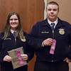Gordon-Rushville, represented by Berklie Haag, left, and Cody-Kilgore, represented Slim Lincoln, left, earned a trip to the Nebraska State FFA competition by placing first and second, respectively, in Agricultural Demonstration at Chadron State College during the District 12 National FFA Organization Leadership Contest, Nov. 16, 2016. (Photo by Conor Casey/CSC)