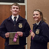 Jake Leommon of Chadron, left, and Jaylyn Rabemscroft of Cody-Kilgore, right, earned a trip to the Nebraska State FFA competition by placing first and second, respectively, in Employment Skillsat Chadron State College during the District 12 National FFA Organization Leadership Contest, Nov. 16, 2016.  (Photo by Conor Casey/CSC)