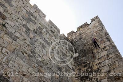 Rappelling Down Old City Walls in Jerusalem, Israel