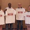 "Summer Upward Bound group leaders, from left, Katie Patrick, Darrien Oliver, Lane Swedberg and Amy Graham were honored with ""Dream Team"" T-shirts at the Summer Upward Bound closing banquet June 29, 2016, in the Chadron State College Ballroom. (Photo by Tena L. Cook/Chadron State College)"