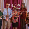 Employees recognized for 20 years of service at the annual Chadron State College Faculty and Staff Recognition Luncheon April 14, 2016. From left, Bonnie Meredith, Michael Leite, Sally Katen, Joby Collins and Melody Carnahan. Not pictured: Scott Cavin, Terie Dawson and Tim Keith. (Tena L. Cook/Chadron State College)