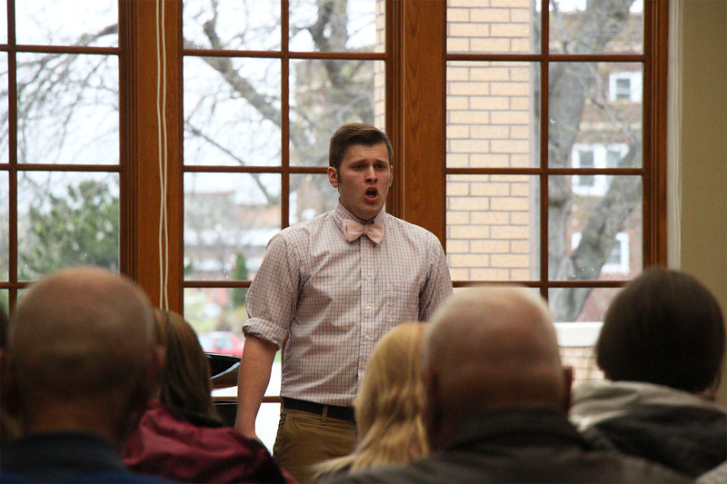 Zachary Banzhaf of Chadron, Nebraska, performs at his Senior Vocal Recital in the Chicoine Atrium, April 29, 2016. (Photo by Conor Casey/CSC)