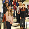 Chadron State College Seniors in Biology Seminar pose for a photo before their presentations Monday night in the Math and Science building. Front row, from left, Heather Bernt of Butte, Neb., and Megan Vincent of San Diego, Calif. Second row, from left, Eunice Songthangtham of Bangkok, Thailand, and Jaycee Housh of Hay Springs, Neb. Third row, from left, Anna Marie King of Lincoln, Neb., and Megan McLean of Brewster, Neb. Fourth row, from left, Chancy Miller, Clarks, Neb., and Dallas Shaw of Buffalo, Wyo. Top row, Brock Yauney of Chadron, Neb.  (Photo by Conor Casey/CSC)