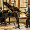 Chadron State College student Drew Kasch of Highlands Ranch, Colorado, right, performs at his senior saxophone recital April 16, 2016, with Bobby Pace, CSC accompanist. (Tena L. Cook/Chadron State College)