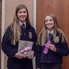 Sydney Adamson of Cody-Kilgore, right, and Jocelyn Pohl of Bridgeport, left, earned a trip to the Nebraska State FFA competition by placing first and second, respectively, in Natural Resources Speech at Chadron State College during the District 12 National FFA Organization Leadership Contest, Nov. 16, 2016.  (Photo by Conor Casey/CSC)