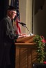 Nebraska State College System board member Gary Beganski addresses the audience at the Chadron State College graduate commencement in Memorial Hall Friday, Dec. 16, 2016. (Photo by Tena L. Cook/Chadron State College)