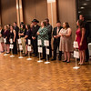 Candidates for king and queen of homecoming line up along the windows in the Chadron State College Student Center Ballroom, Oct. 5, 2016. (Photo by Conor Casey/CSC)