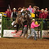Nate McFadden of Chadron State College comes out of the chutes Thursday night on his bareback at the College National Rodeo Finals in Casper, Wyoming. His score of 72.5 points allowed him to advance to S finals Saturday, June 18, 2016. He is tied for fourth with three other cowboys in the standings.  (Hubbell Rodeo Photo)