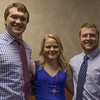 Pre-medicine Rural Health Opportunities students, recognized at the annual Health Professions banquet. From left, Brent Bussinger of Kimball, Neb., Jaycee Housh of Hay Springs, Neb., and Garrett Westman of Gurley, Neb. They will enroll at the University of Nebraska Medical Center in Omaha this fall. (Tena L. Cook/Chadron State College)