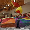 Chadron State students show kids parachute activities at Challenge Day in the Nelson Physical Activities Center. (Photo by Conor Casey/CSC)