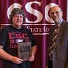 Bonnie Eleson, honored retiree, and Dr. Charles Snare at the annual Chadron State College Faculty and Staff Recognition Luncheon April 14, 2016. (Tena L. Cook/Chadron State College)