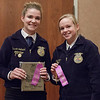 Cassie Leithead of Bridgeport, left, and Tatiana Jones of Cody-Kilgore, right, earned a trip to the Nebraska State FFA competition by placing first and second, respectively, in Junior Public Speaking at Chadron State College during the District 12 National FFA Organization Leadership Contest, Nov. 16, 2016.  (Photo by Conor Casey/CSC)