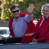 Bruce Hoem, Chadron State College professor and 2016 homecoming parade marshal, rides with wife, Wendy Hoem, in front of the homecoming parade, Oct. 2, 2016. (Photo by Conor Casey/CSC)