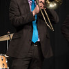 Allen Kissack performs a trombone solo during the Jazz and Guitar Concert in Memorial Hall April 12, 2016. (Tena L. Cook/Chadron State College)