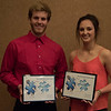 Peer-Nominated Leader Award recipients at the Rising Sophomore Recognition Ceremony Monday, April 25, 2016, in the Chadron State College Student Center. From left, Timothy Aanenson and Madison Webb. (Tena L. Cook/Chadron State College)