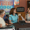 """Sarah Polak, center, director of the Mari Sandoz High Plains Heritage Center, is interviewed by Genevieve Randall, right, host of Nebraska Public Radio's """"Friday LIVE"""" arts and culture magazine, Tuesday, June 14, 2016, at the Bean Broker in Chadron. Jean Curry-Hess of Gordon, Nebraska, left, looks on. (Photo by Tena L. Cook/Chadron State College)"""