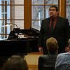 Bobby Pace, left, accompanies Zachary Henderson of Douglas, Wyoming, at Henderson's Senior Vocal Recital in the Chicoine Atrium. (Photo by Conor Casey/CSC)