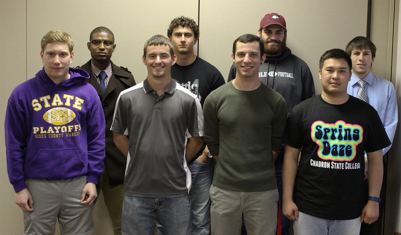 The Blue Key Honor Society inducted eight new members April 27, 2016, in the Chadron State College Student Center's Ponderosa Room. Front row, from left, Jonny Dunn, Kolton Brown, Ethan Proud and Johnathan Sayaloune. Back row, from left, Yohannes Berehanu, Elijah Timblin, Draper Sullivan and Clayton Hinman. (Photo by Conor Casey/CSC)