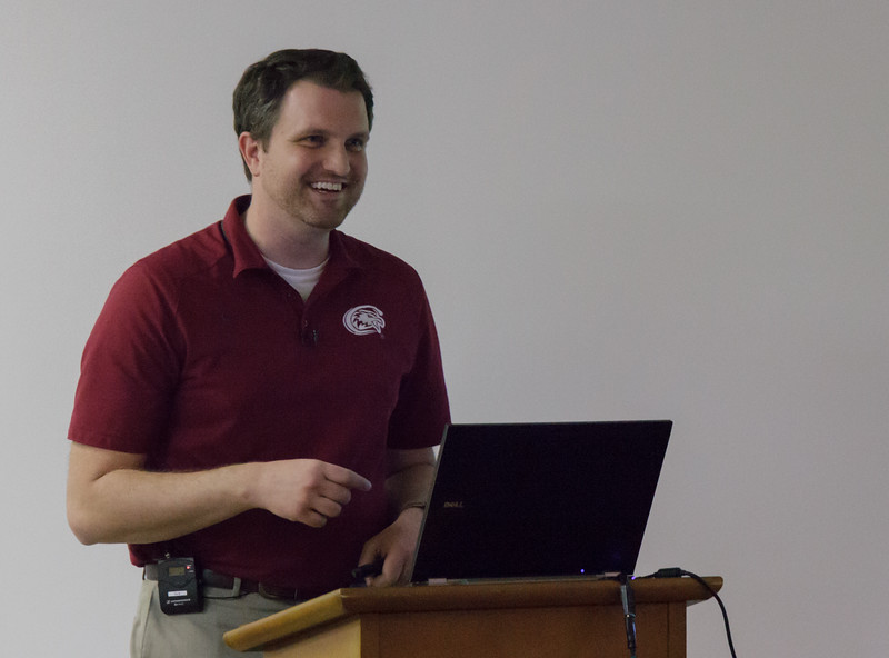 Alex Helmbrecht, director of College Relations at Chadron State College, discusses sports information in the King Library, as part of the Graves Lecture Series, Tuesday, Nov. 8, 2016. (Photo by Conor Casey/CSC)