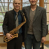 Drew Kasch of Highlands Ranch, Colorado, right, at his senior saxophone recital April 16, 2016, with fellow Chadron State College music major Zach Banzhaf, of Chadron, who composed several pieces performed by Kasch. (Tena L. Cook/Chadron State College)