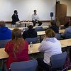 Travis O'Gorman, left,  and Trevor Schmidt, Chadron State College's 2016 Distinguished Young Alumni award recipients, speak to students and faculty at the Justice Studies Forum in Old Admin, Friday, Oct. 7, 2016.  (Photo by Conor Casey/CSC)