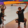 Nick Colgate of Nogales, Arizona, leads kids in parachute activities at Challenge Day in the Nelson Physical Activities Center. (Photo by Conor Casey/CSC)