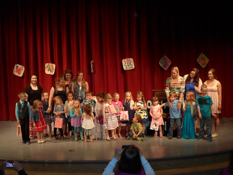 All children who attend the Chadron State College Child Development Center pose following a graduation ceremony at the Chadron High School April 25, 2016. (Courtesy photo)