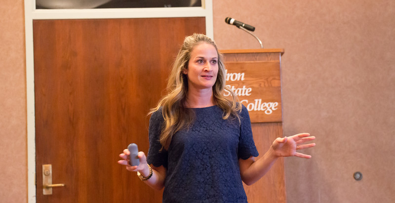 "Guest speaker Jennifer Cassetta discusses productive habits of a successful student as part of her presentation ""7 Habits of Highly Healthy Students"" in the Student Center ballroom Oct. 20, 2016. (Photo by Conor Casey/CSC)"