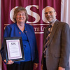 Dr. Beth Wentworth, Teaching Excellence nominee, and Dr. Charles Snare at the annual Chadron State College Faculty and Staff Recognition Luncheon April 14, 2016. (Tena L. Cook/Chadron State College)