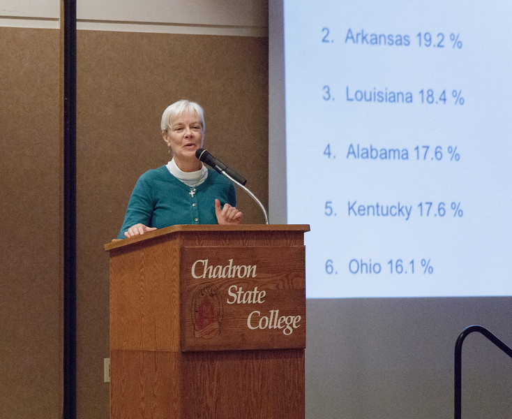 Pastor Ann Sudberg of Immanuel Lutheran Church speaks at the Oxfam Hunger Banquet presented by students enrolled in (CA 239) in the Student Center Ballroom, Nov.  14, 2016. (Photo by Conor Casey/CSC)