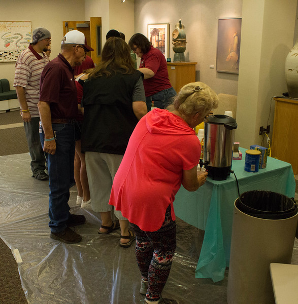 Attendees of the pancake breakfast hosted by the MTNA (Music Teachers National Association) dish up their breakfast, in Memorial Hall on Family Day Sept. 17, 2016. (Photo by Conor Casey/CSC)