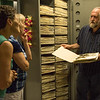 Steve Rolfsmeier, High Plains Herbarium curator and Chadron State College faculty member, explains the process of preserving plant samples during a tour Wednesday, July 6, 2016. (Photo by Tena L. Cook/Chadron State College)