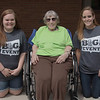 Ashley Bundy of Ansley, Neb., left, and Jazmin Schwark of Eaton, Colo., pose with Crest View Care Center resident Mary Lou Thornton, center, Saturday, April 23, 2016, during The Big Event. (Tena L. Cook/Chadron State College)