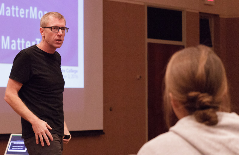 """Paul Wesselman speaks to the attendees of his presentation, """"Shut up, you Stupid, Crazy Meany,"""" in the Student Center Ballroom, Nov. 3, 2016.  (Photo by Conor Casey/CSC)"""
