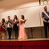 The homecoming royalty court stands on stage in the Chadron State College Student Center ballroom, Oct. 5 2016. They are, from left to right: Curtis Stevens of St. Paul, Nebraska; Whitney Coop of Valentine, Neb.; Garrett Dockweiler of  Oconto, Neb.; Chelsea Haynes of Auburn, Neb.; Hector Bustillos of Gillette, Wyoming; Sarah Marlatt of Gordon, Neb.; Carson Langley of Sidney, Neb.; Taylor Osmotherly of Crawford, Neb.; Kayla Morgan of Alliance, Neb. (Photo by Conor Casey/CSC)