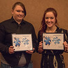 Unsung Hero Award recipients Josie Semroska and Kylee Pourier at the Rising Sophomore Recognition Ceremony Monday, April 25, 2016, in the Chadron State College Student Center. (Tena L. Cook/Chadron State College)