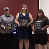 Project Strive/TRiO 2015-16 Students of the Month pose at the organization's year-end luncheon Monday, May 2, 2016, in the Chadron State College Student Center. From left, Kelsey Brummels, Brooke McPherson, Leyna Brummels, Sara Tompkins and Courtney Pendleton. Not pictured: Tate Jensen, Amanda Lunkwitz and Jenna McBride. (Photo by Tena L. Cook/Chadron State College)
