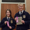 Dali O'Neil of Cody-Kilgore, left, and Hunter hawk of Chadron, right,<br /> earned a trip to the Nebraska State FFA competition by placing second and first, respectively, in Public Speaking at Chadron State College during the District 12 National FFA Organization Leadership Contest, Nov. 16, 2016. (Photo by Conor Casey/CSC)