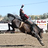 Chadron State College senior Nate McFadden of Elsmere, located in Cherry County, has earned points in the bareback riding at all nine rodeos in the Central Rocky Mountain Region this season and is solidly in second place in the standings for the year.  He's done particularly well at the last two rodeos, winning first at Colorado State and placing second at Casper College. He's shown at the CSC rodeo last fall, where he was the runner-up in the bareback competition. (CSC photo by Con Marshall)