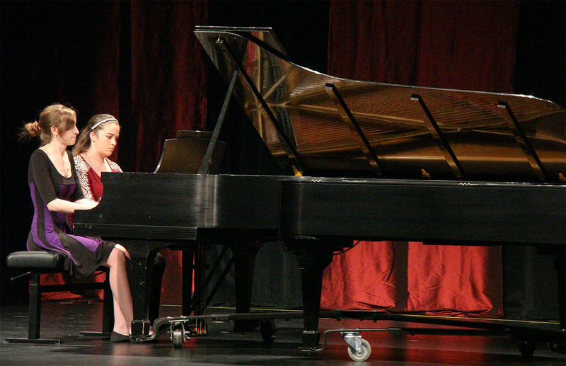 Donica Enevoldsen, left, and Savannah Jackson perform a musical piece during the spring Keyboard Ensemble, May 3, 2016. (Photo by Conor Casey/CSC)