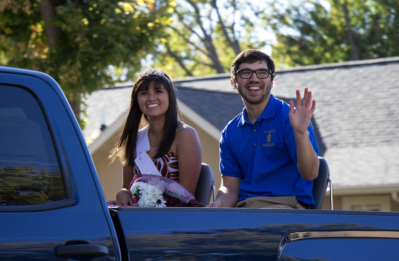 Chadron State College Homecoming 2016 royalty wave from their parade float. (Photo by Conor Casey/CSC)
