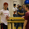 Wacey Gallegos of Ainsworth, Nebraska, and Jessica Stvffen-Schepers of Sturgis, South Dakota, teach participants in Chadron State College's annual Theatre Day hand-to-hand combat in the Nelson Physical Activities Center Oct. 6, 2016.  (Photo by Conor Casey/CSC)