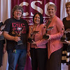 Employees recognized for 25 years of service at the annual Chadron State College Faculty and Staff Recognition Luncheon April 14, 2016. From left, Shawn Hartman, Bonnie Eleson, Frances Gonzalez, Tracy Nobiling and Michele Rickenbach. Not pictured: Joyce Hardy and Johnnie Olivas. (Tena L. Cook/Chadron State College)