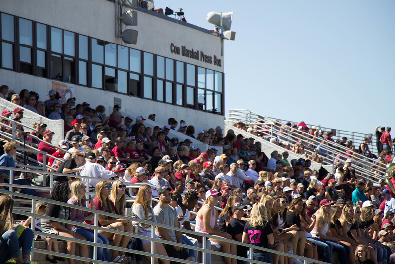 CSC fans pack the stands to enjoy the Family Day football game at Don Beebe Stadium, Sept. 17 2016. (Photo by Conor Casey/CSC)