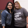 Project Strive/TRiO Student of the Year Yadira Gurrola of Scottsbluff, Nebraska, left, with project director Jen Schaer at the year-end luncheon Monday, May 2, 2016, in the Chadron State College Student Center. (Photo by Tena L. Cook/Chadron State College)