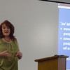 """Mary Gould-Traphagan, Chadron Middle School history teacher and Nebraska representative of the Institute of Holocaust Education, presents her discussion """"The Holocaust"""" in the King Library as part of the Graves Lecture Series, Oct. 25, 2016. (Photo by Conor Casey/CSC)"""